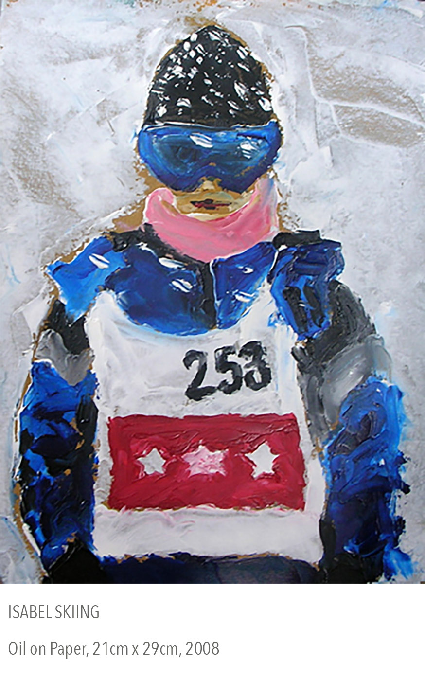 2008 oil painting called Isabel Skiing