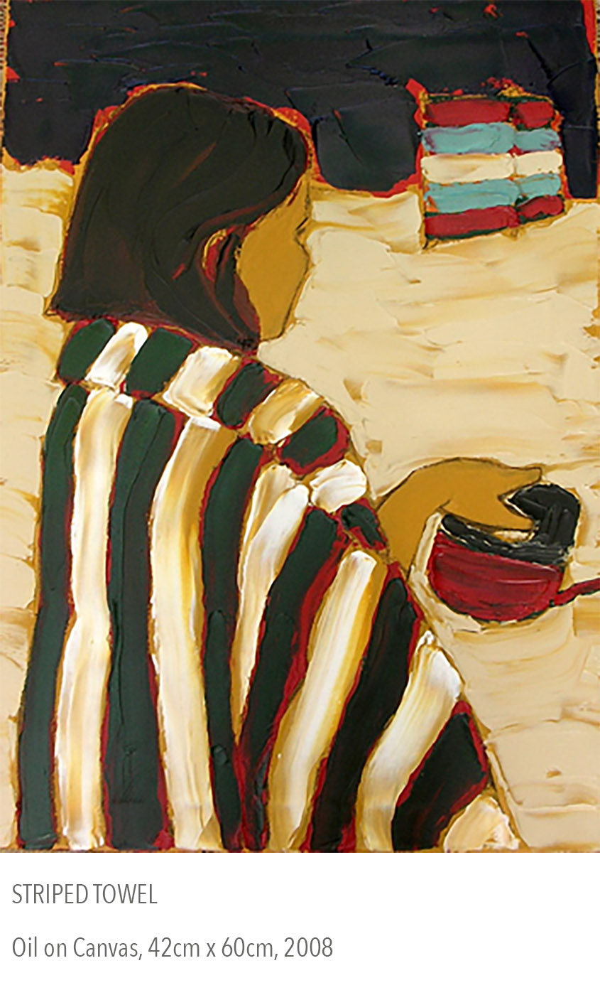 2008 oil painting called Striped Towel