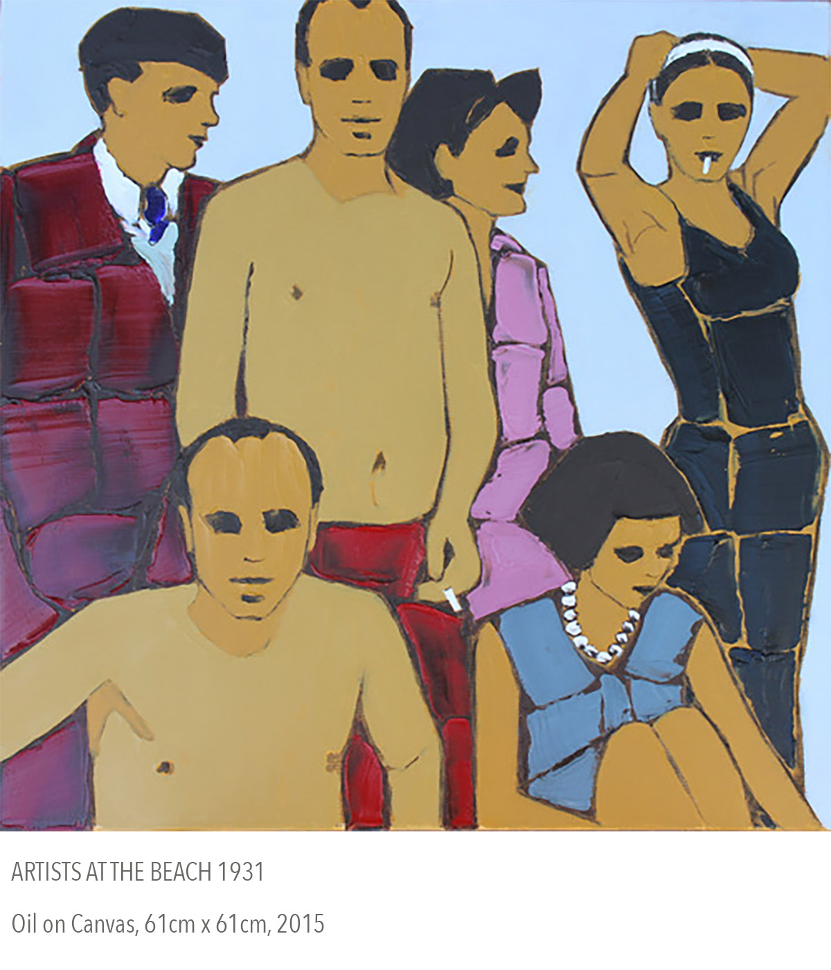2015 oil painting called Artists at the Beach 1931